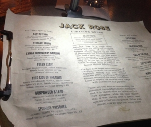 The menu from the Jack Rose Libation House even includes a brief history on the famed drink, and has drinks themed from the author who lived half a mile from where the bar stands in Los Gatos, CA