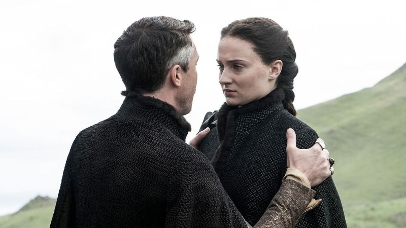 """Marry the murderer. It's OK because VENGEANCE."" Petyr makes Sansa an offer she...can't refuse? Image source: HBO Viewer's Guide"