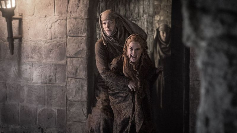 I love how smug the sister restraining Cersei is. YEAH BITCH. Image source: HBO Viewer's Guide
