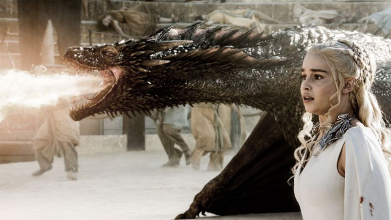 """I should have worn pants today."" Dany prepares to mount her dragon. Image source: HBO Viewer's Guide"